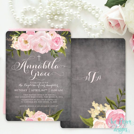 Chalkboard Floral Girl Baptism, First Communion, Dedication, Christening Invitation with Pink Blush Roses: Shabby Chic Printed