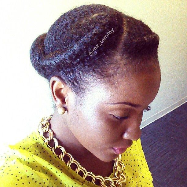 """She calls this style """"Nettie"""" ... Perfection! (I would do this but substitute the roll with a flat twist)"""