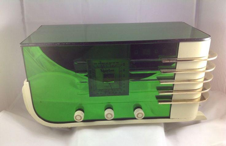 Original 1936 Sparton 557 Art Deco Designed Radio in Mirrored GREEN Glass