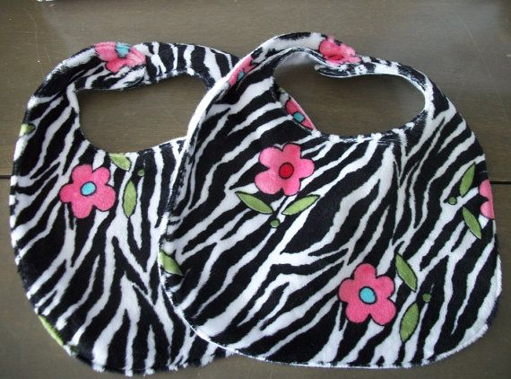 Zebra and Flowers Baby Bibs handmade Pair by sharronmay on Etsy