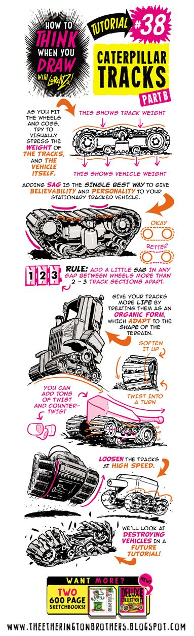 Scroll down for this week's tutorial, looking at How to THINK When you DRAW CATERPILLAR and TANK TRACKS !   If you want more, here are TONS ...