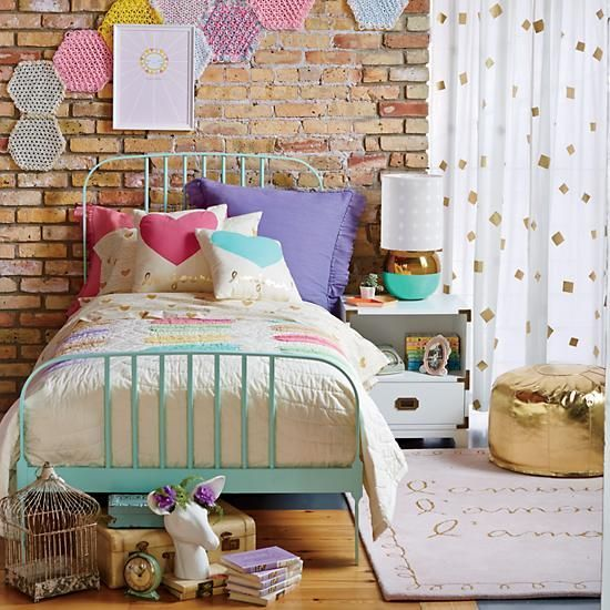 the woven placemats on the wall... good idea! Twin Larkin Metal Bed (Mint) in Beds | The Land of Nod