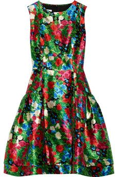 Printed silk-mikado dress by Oscar de la Renta for THE OUTNET theoutnet.com £850