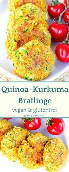 Knusprige Quinoa-Kurkuma Bratlinge vegan glutenfrei veggie www.greenysherry.com