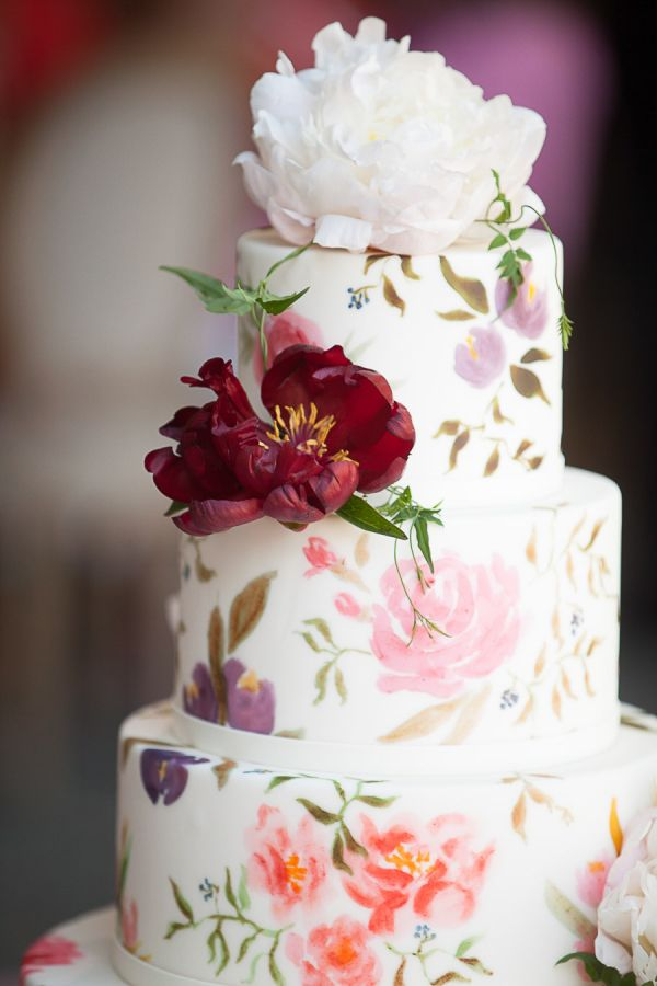 Floral wedding cake: http://www.stylemepretty.com/2017/01/10/one-bride-four-gowns/ Photography: Arrowood - http://arrowoodphotography.com/