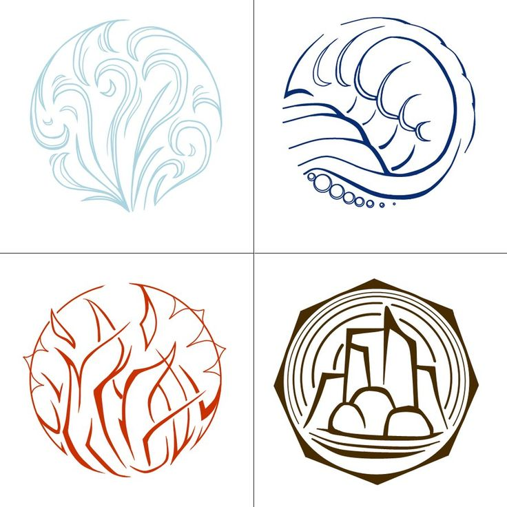 Okay, these are elemental symbols for DnD, which I recently started playing. The guys I made them for know what they're for - tell me if you want anything changed, alright? Done in Paint.NET with a...