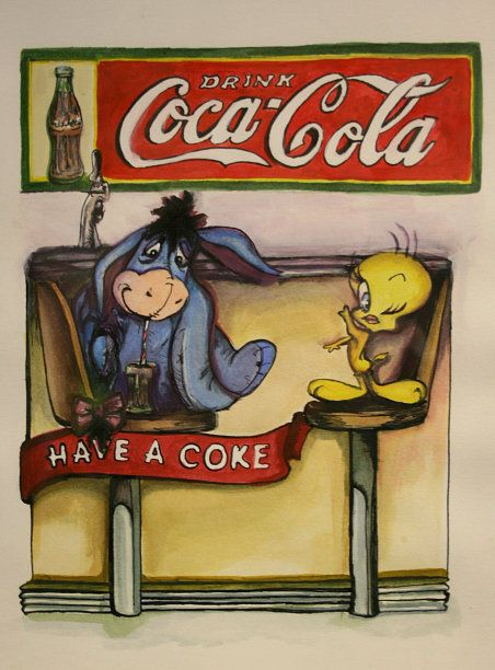 Tweety Bird and Coca Cola - watercolor colored ink by Hazel Patterson