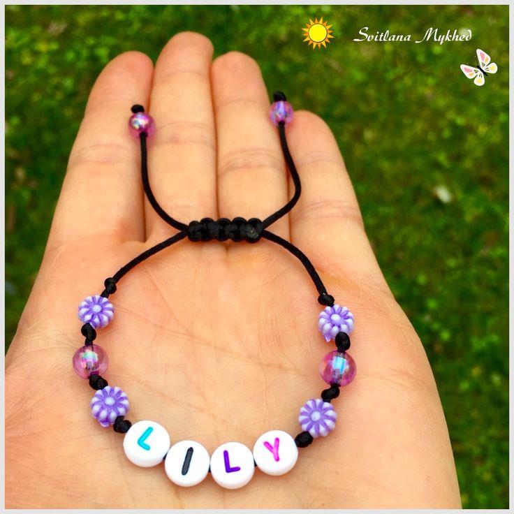 """Bracelet """"Lily"""" . Bracelet avec message ou prenom personnalisable perles acryliques multicolores : Bijoux enfants par perles-et-couronnes"""