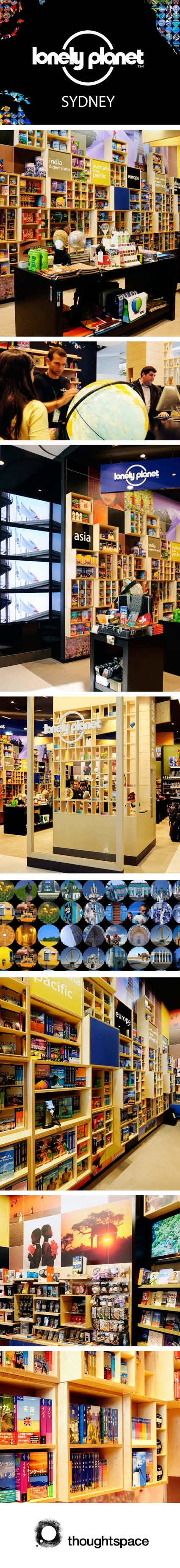 Lonely Planet, Retail design, interior design, Thoughtspace, graphics, signage