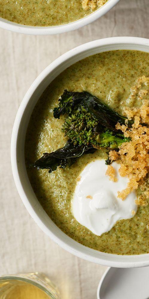 Creamy Broccoli Rabe Soup with Crispy Quinoa