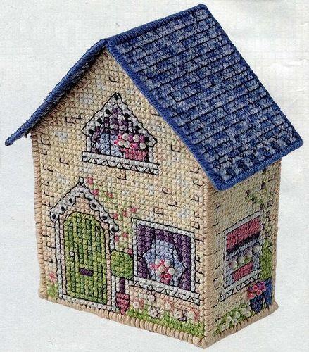 3D cross stitch house. Pin 1 of 5