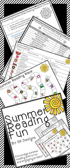 Get students AND parents excited about summer reading with a simple project that encourage summer reading choice and fun. Includes fun tracking game, free and inexpensive incentive recommendations that encourage time with family and friends, suggested reading lists for K-6, parent letter, tips for variety in reading activities, and community resources. Ready to print and go from SK Designs!