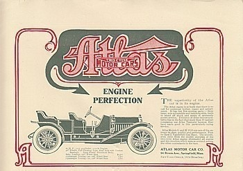 1909 Atlas Motor Car Springfield MA Ad: Engine Perfection. Source: The Automobile Magazine (December 2, 1909)