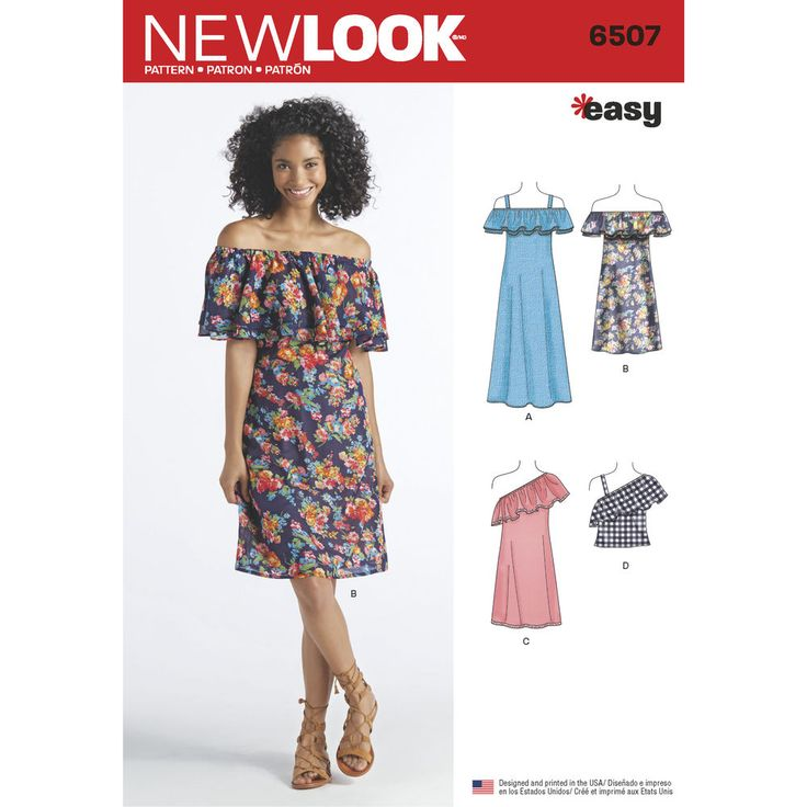 6507 Easy-to-make Misses off-the-shoulder ruffle top and dress in two lengths have a flounce at neckline that can be double-layered and trimmed.