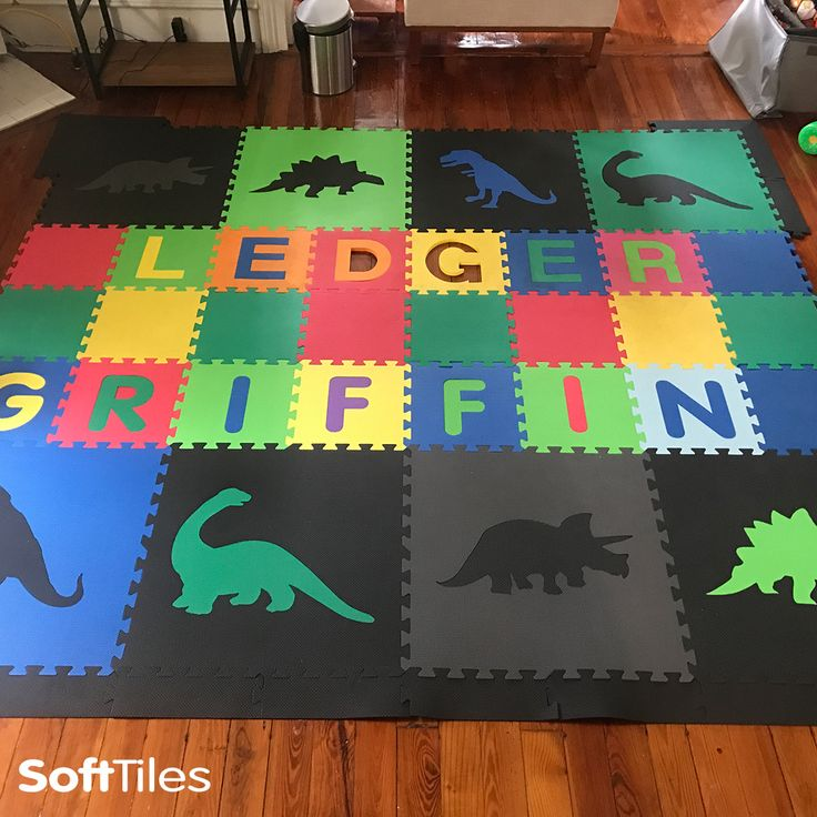 Marvelous Colorful Dinosaur Childrenu0027s Play Mat Personalized With SoftTiles Alphabet  Mats  D186. Playroom FlooringKid ...