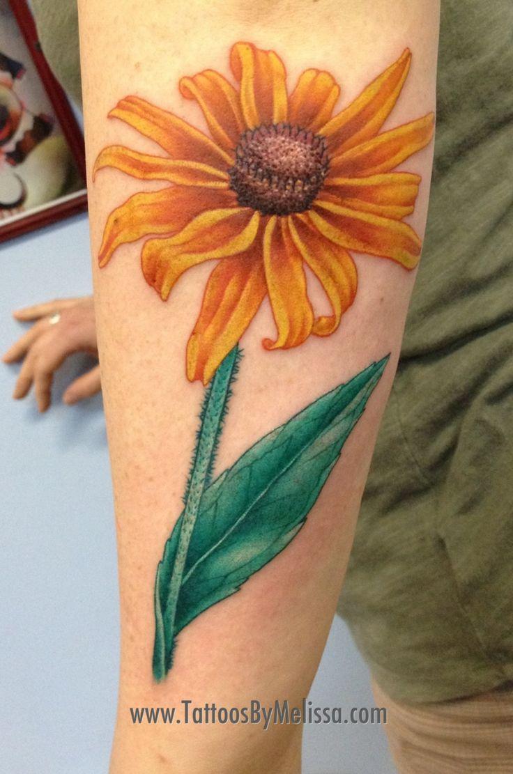 Black eyed Susan flower tattoo by Melissa Capo in Anchorage, Alaska  www.TattoosByMelissa.com