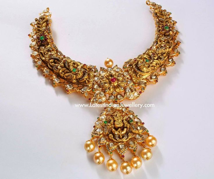 Nakshi Gold Indian Necklace | Jewellery Designs | Pinterest
