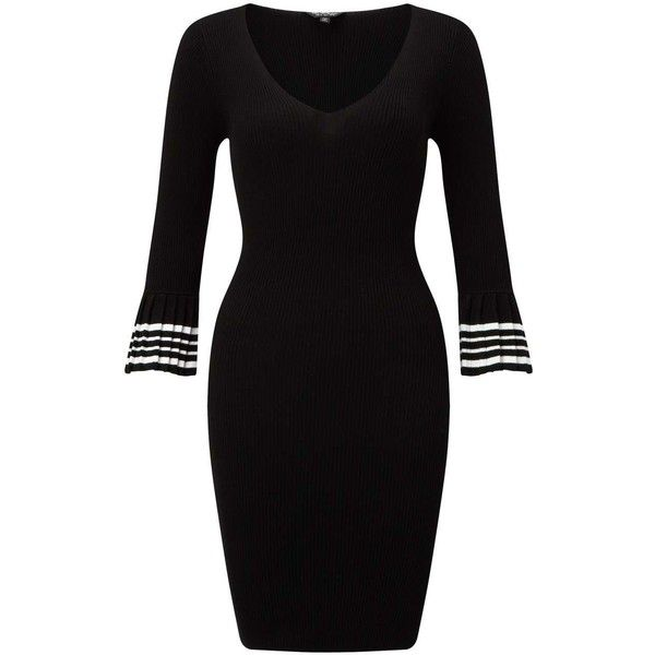 Miss Selfridge Black Stripe Cuff V-Neck Knitted Dress (£37) ❤ liked on Polyvore featuring dresses, black, v neckline dress, miss selfridge dresses, v neck flare dress, v-neck dresses and miss selfridge