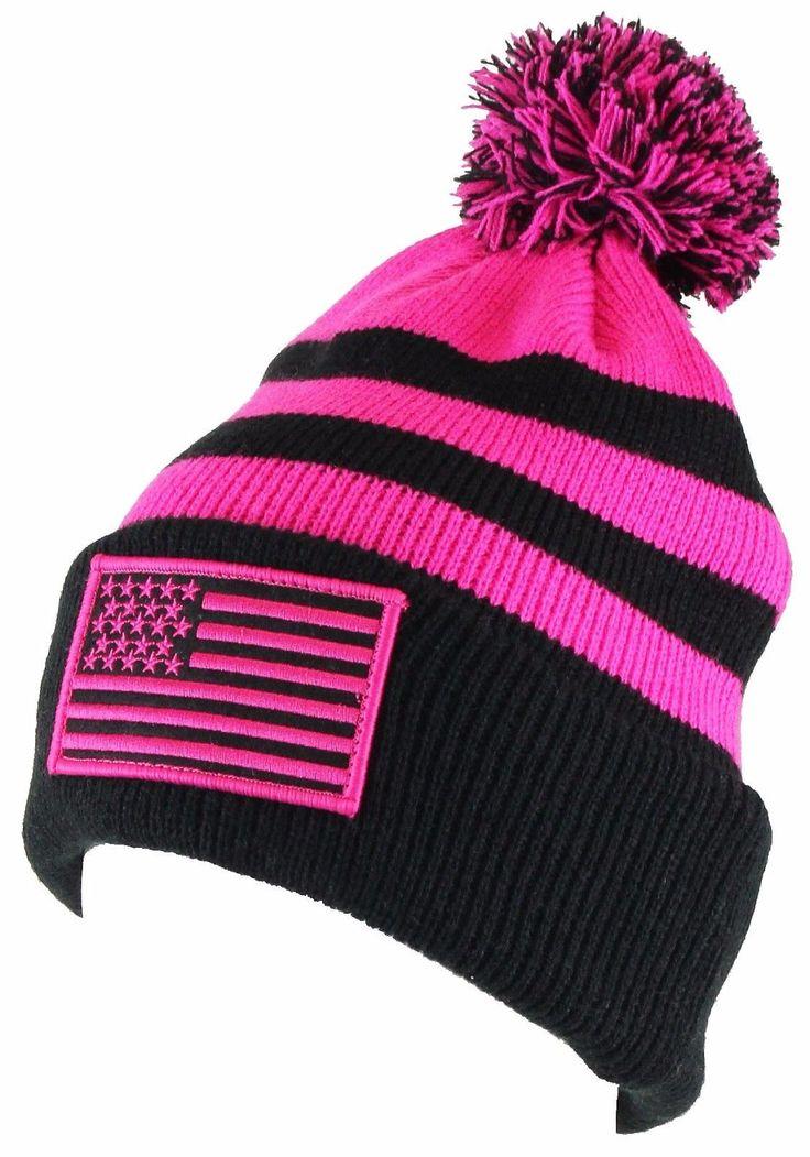 AMERICAN FLAG BEANIE Pom Headwear Winter Cap Ski Snowboard Hat Fashion Camping
