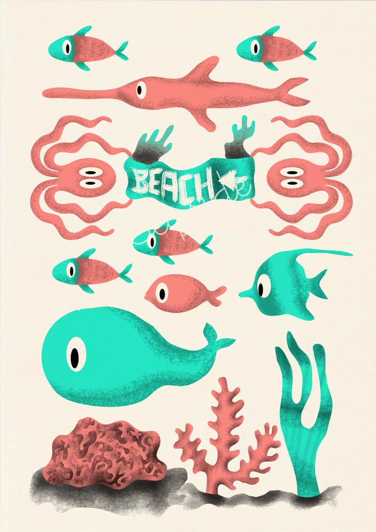 Nursery wall Art Print - Beach this way 03 - Sea animal illustration wall decor -  $12.00, via Etsy.