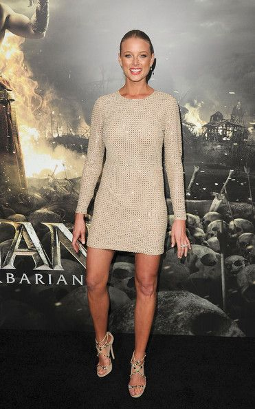 Rachel Nichols Lookbook: Rachel Nichols wearing Beaded Dress (12 of 33). Rachel Nichols looked glam in an ivory and gold backless dress for the 'Conan the Barbarian' premiere.