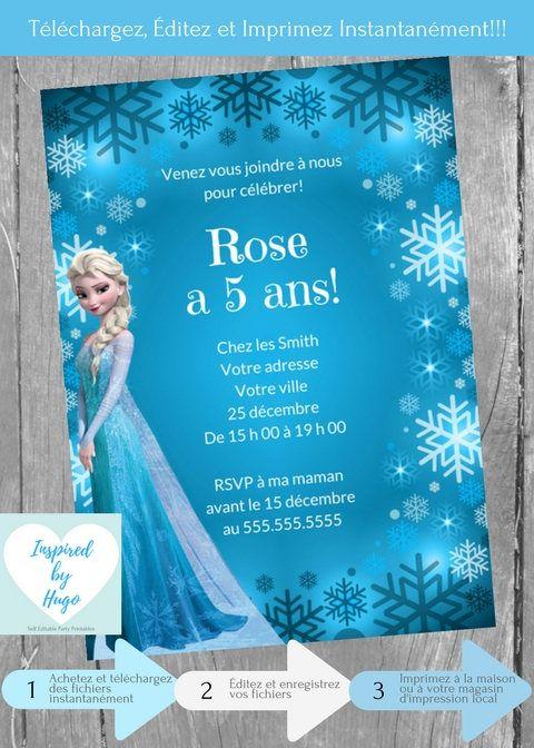 Invitation La reine des neiges fête d'anniversaire, Disney Frozen, Téléchargement Instantané Invitation en français Éditable à Personnaliser by InspiredByHugo on Etsy