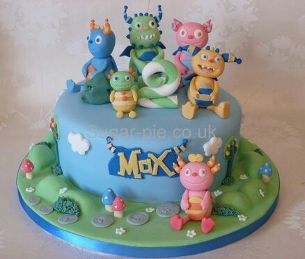 Henry Hugglemonster cake--well this is the whole gang he was looking for lol!
