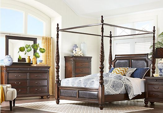 Cindy Crawford Home Trinidad Walnut 6 Pc King Canopy Bedroom