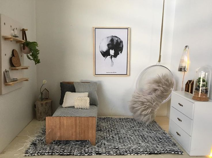Modern room in neutral colours ... Single bed and bed sheet from @little.linzi , natural bed pillows and shaggy rug from @_tinybungalow