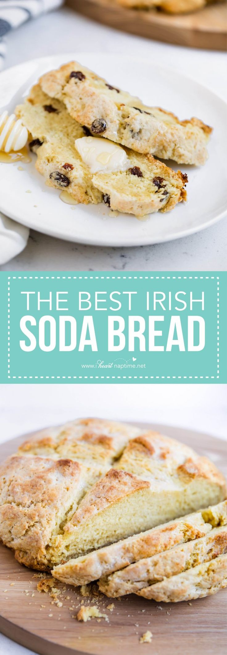Irish soda bread -a good old fashioned recipe that can be prepped in 10 minutes! The buttermilk gives this bread the perfect flavor. It's crunchy on the outside and moist and sweet on the inside!