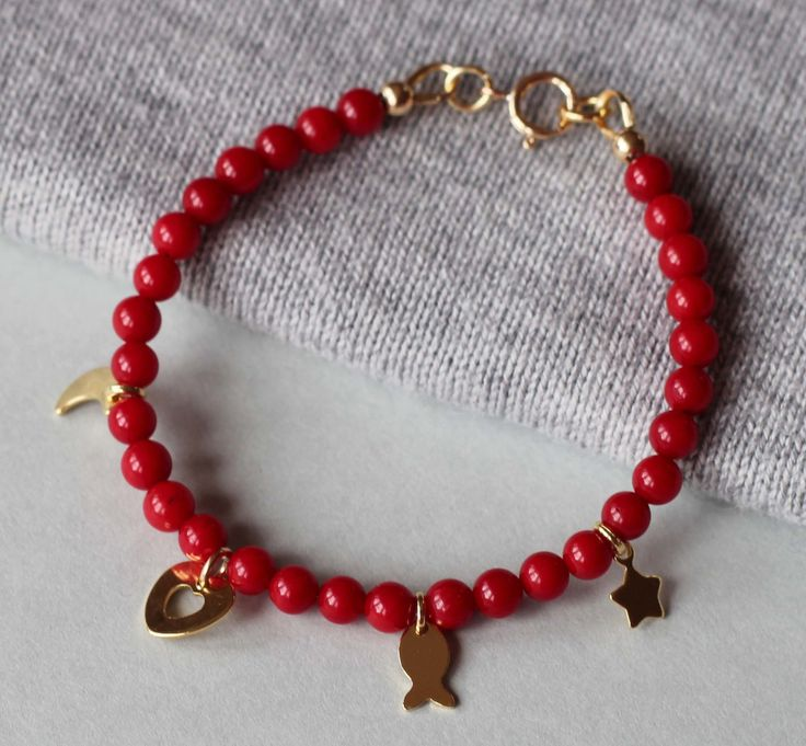 Red Coral Gemstones with Gold Filled Charms Girl's Bracelet by ILgemstones on Etsy