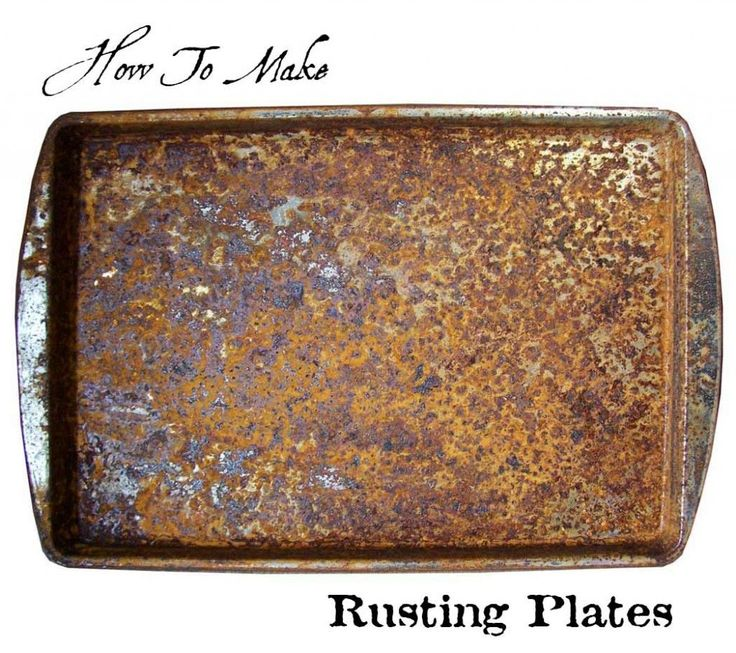 Step-by-step instructions on how to make rusting plates, for making rusted papers and fabrics.