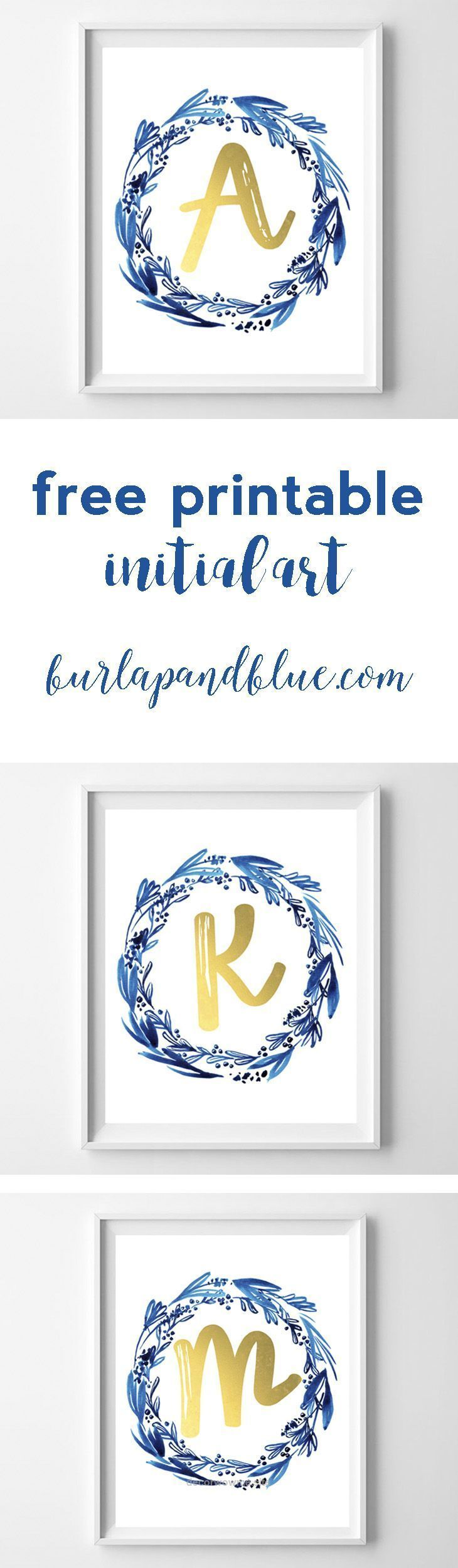 Lovely free printable initial art in indigo and gold! perfect for a gift, nursery or home decor. The post free printable initial art in indigo and gold! perfect for a gift, nursery or ho… a ..