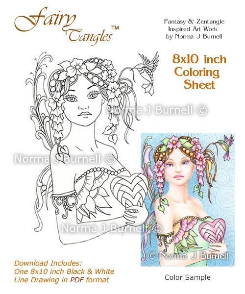 be mine love fairy tangles printable coloring sheet coloring page by norma j burnell fairies valentines day coloring pages