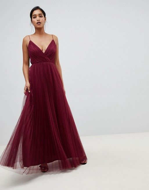 dfc5178f799 DESIGN cami pleated tulle maxi dress