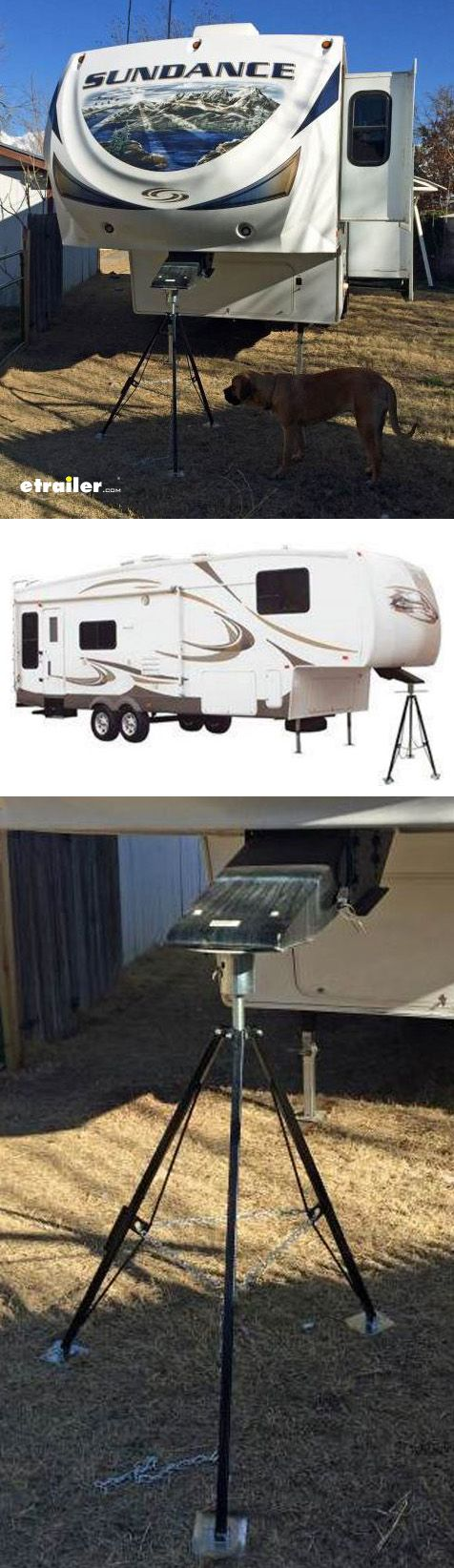 Quickly and easily stabilize your unhitched fifth-wheel camper or trailer with this sturdy steel tripod. Adjustable hitch cup makes setup a snap, and the included padlock provides an effective theft deterrent.