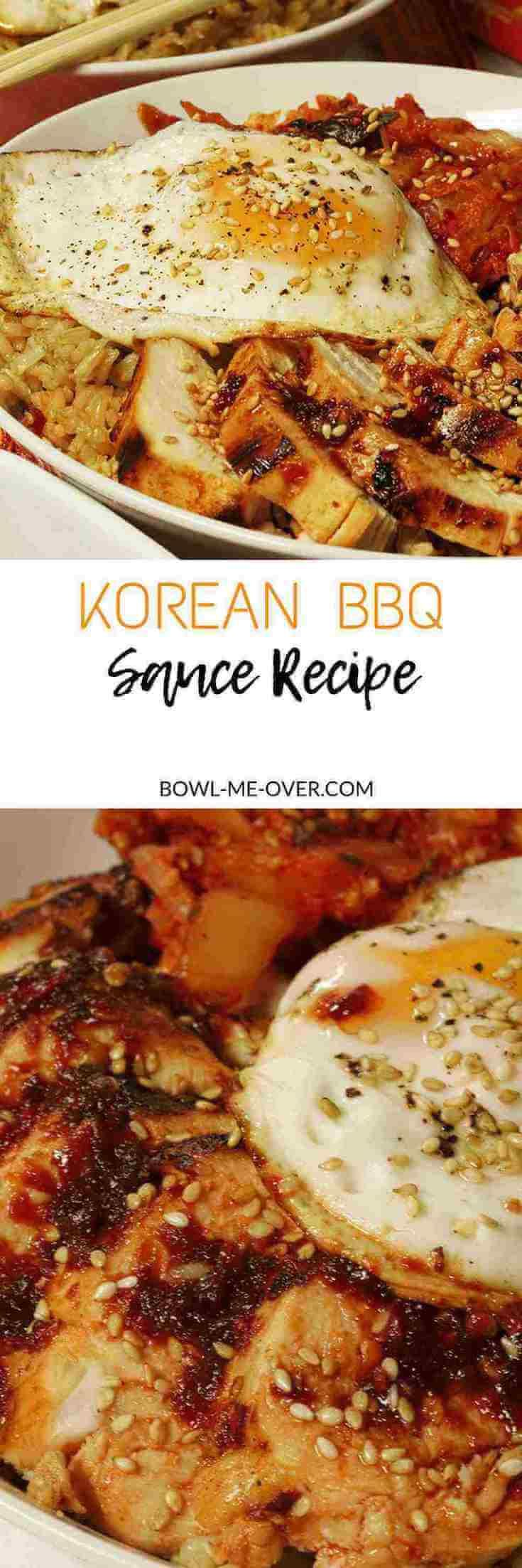 An easy Korean BBQ Sauce Recipe that is sweet and salty, spicy and savory - this is an easy recipe to make and enjoy! Marinated chicken is grilled up perfectly and served in a bowl, this is a complete meal. The bowl has rice, kimchi and chicken that is marinated in Korean bbq sauce. The whole meal is topped off with a sunny-side up egg to make a rich complete meal! via @bowlmeover #KoreanBBQSauce #AsianCuisine #BowlMeOver