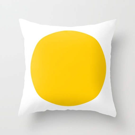 """yellow cushion, yellow, cushions, cushion cover, geometric cushion, throw pillow, pillow case, 16 x 16, 18"""" x 18"""" or 20"""" x 20"""".  Made from 100% spun polyester poplin, individually cut and sewn by hand, the yellow dot design cushion cover in yellow and white is available in a range of sizes, features a double-sided print and is finished with a concealed zipper for ease of care.  Use the drop down menu on the right to choose from standard sizes in inches. The corresponding sizes in centimetres…"""
