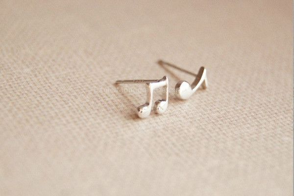 Musical note earrings,925 Sterling Silver earring studs,musical note earring studs