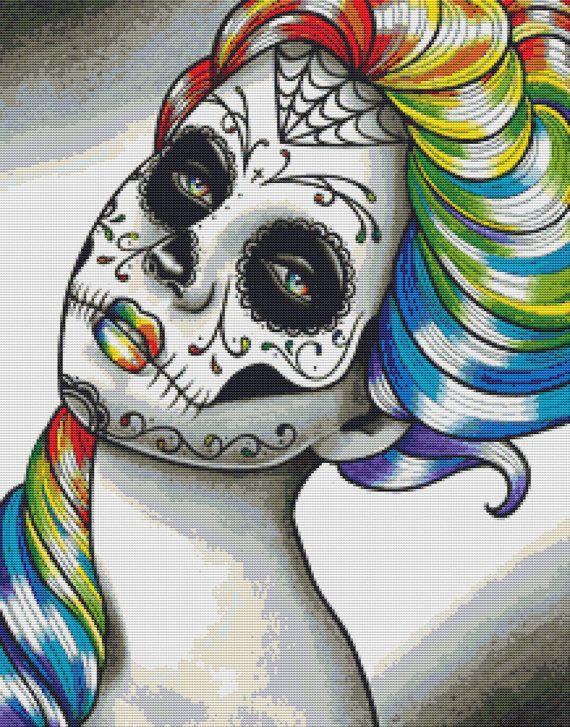 Cross Stitch Kit By Carissa Rose 'Spectrum Series Rainbow' - Sugar Skull via Etsy.