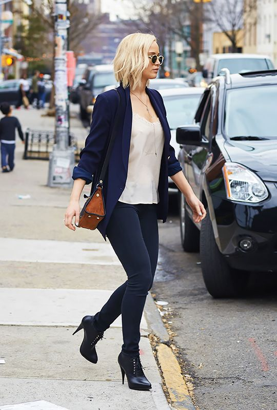 Jennifer Lawrence, Leaving a studio in Williamsburg in tight pants and high heel booties