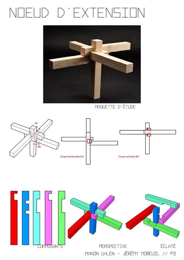 Noeud tridimensionnel à 5 branches permettant de raccorder différentes poutres / assemblage à mi-bois - Manon Uhlen / Jérémy Moreuil