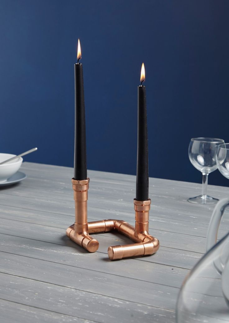 This gorgeous 2 arm copper pipe candle holder is handmade and holds 2 candles perfectly. The industrial candle holder will look lovely in a contemporary or modern home. Handmade Furniture - http://amzn.to/2iwpdj4