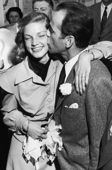 Humphrey Bogart and Lauren Bacall on their wedding day