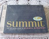 Summit Board Game , Vintage Board Games, Vintage Game, Vintage Never Played Unopened 61 Milton Bradley Summit Board Game Global Strategy :)