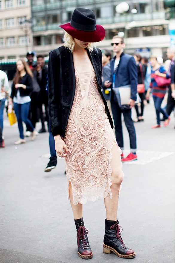 Pink lace dress with combat boots and a colorblock fedora