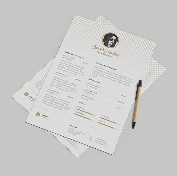 Gold Elegant Resume Template Instant Download  Cover by papernoon