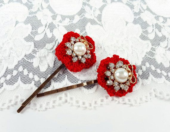 2 red hair accessories crochet bobby pins lace hair jewelry