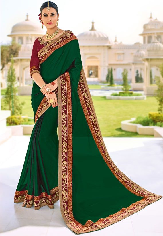 5f5e9a610a1ed6 Beautiful Bottle Green Saree Bottle Green Saree, Chiffon Saree, Floral  Chiffon, Saree Shopping