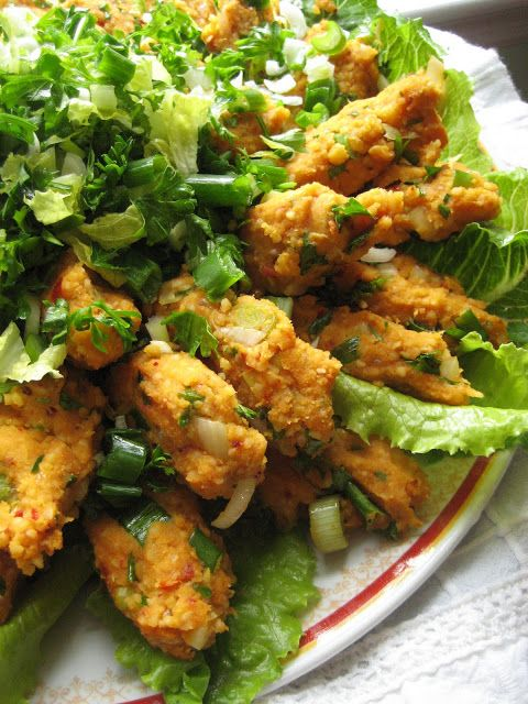 Red Lentil Kofte - salad like a combination of falafel and tabbouleh and delicious. Turkish, traditionally served wrapped in lettuce leaves.